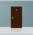 brown wooden door on a gray wall interior design vector image