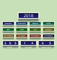 calendar 2018 countdown timer 2018 year and month vector image vector image