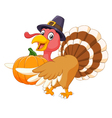 Cartoon turkey holding a pumpkin vector image