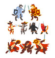 cats and dogs warriors fighting set knights vector image vector image
