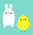 chicken bird bunny set white rabbit baby chick vector image vector image