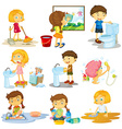 Children doing different chores vector image vector image