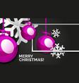 christmas balls happy new year banner black vector image