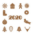 christmas gingerbread set 2020 design icon vector image vector image