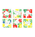 collection cards with juicy fruits pattern vector image