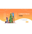 couple decorating christmass tree merry xmas happy vector image