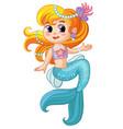 cute pretty sitting mermaid cartoon vector image vector image