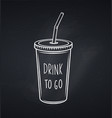 drinks mug with straw chalkboard style vector image vector image
