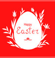 easter egg decorated tulips and palm branches vector image vector image