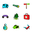 expedition icons set cartoon style vector image
