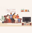 family watching television together happy people vector image