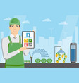 farmer with tablet in a modern greenhouse vector image vector image