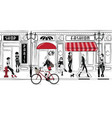 fashion girls in sketch-style in paris vector image vector image