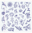 freehand drawing spring items set vector image vector image