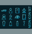 funeral set icons blue glowing neon style vector image