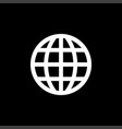 globe icon on black background black flat style vector image vector image
