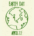 green outline earth day poster vector image vector image