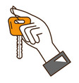 hand with car key isolated icon vector image vector image