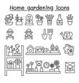 home gardening icons set in thin line style vector image vector image