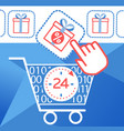 icon on cyber monday cart vector image vector image