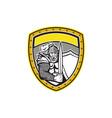 Knight Full Armor Open Visor Sword Shield Crest vector image vector image