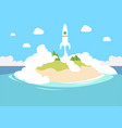 launching a small private startup with rocket as vector image