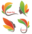 leaves and faces vector image vector image