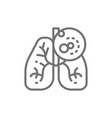 lungs cancer malignant tumor oncology line icon vector image vector image