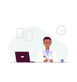 man doctor sitting at table in office vector image