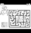 maze activity game with boy and dog vector image vector image