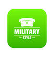 military hat icon green vector image vector image