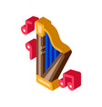 musical harp isometric icon vector image vector image