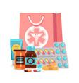 pharmacy elements pills vitamins bottles vector image vector image