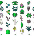 plants leaves and foliage floral seamless pattern vector image