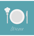 Plate knife and chefs hat on the fork Menu card vector image vector image