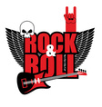 Rock and roll logo Electric guitar and skull Logo vector image vector image