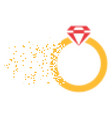 ruby ring broken pixel icon vector image vector image