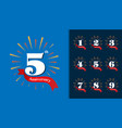 set of anniversary logotype fireworks anniversary vector image