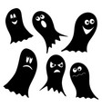 set of black ghosts isolated on white background vector image vector image