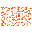 set of orange 3d arrows shiny icons vector image vector image