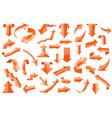 set of orange 3d arrows shiny icons vector image vector image