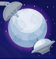spaceships with moon universe icon vector image vector image