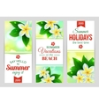 Summer shining typographical banners with tropical vector image