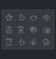 tea line icons vector image