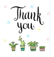 Thank you Handwritten card with flowers in vector image vector image