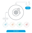 Tire service icon Wheel and wrench key sign vector image vector image