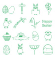 various simple outline Easter icons set eps10 vector image vector image