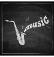vintage with the saxophone on blackboard vector image vector image