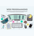 web programming top view banner vector image vector image