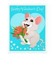 white mouse with red tulips vector image vector image